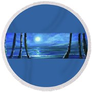 Seascape With A Moon Round Beach Towel