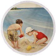 Seashell Sand And A Solo Cup Round Beach Towel