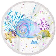 Seashells And Coral Watercolor Round Beach Towel