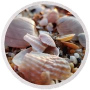 Seashells And Pebbles Round Beach Towel