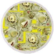 Seashells On Lemon Yellow Round Beach Towel
