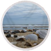 Seashells Seagull Seashore Round Beach Towel