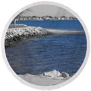 Seaside Blue Round Beach Towel