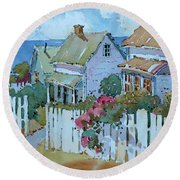 Seaside Cottages Round Beach Towel
