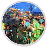 Seaside Heights Casino Pier Round Beach Towel