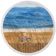 Seaside In Massachusetts Round Beach Towel