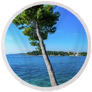Seaside Leaning Tree In Rovinj, Croatia Round Beach Towel
