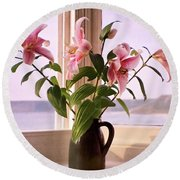 Seaside Lilies Round Beach Towel