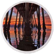 Seaside Reflections Under The Imperial Beach Pier Round Beach Towel
