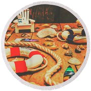Seaside Ropes And Nautical Decks Round Beach Towel