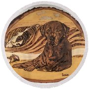 Round Beach Towel featuring the pyrography Seaside Sam by Denise Tomasura