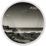 Seaside Solitude Round Beach Towel