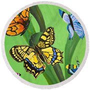 Season Of Butterflies Round Beach Towel