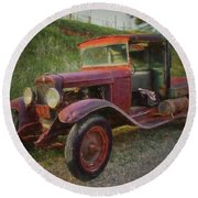 Seasoned Ol' Truck Round Beach Towel