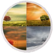 Seasons' Delight Round Beach Towel by Lourry Legarde