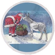 Round Beach Towel featuring the painting Season's Greetings by Dawn Senior-Trask