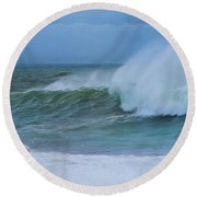 Round Beach Towel featuring the photograph Seaspray by Robin-Lee Vieira