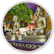 Seated Buddhas Round Beach Towel