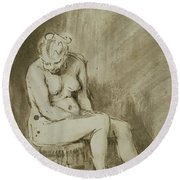 Seated Female Nude Round Beach Towel