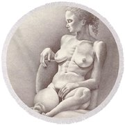 Seated Figure No. 6 Round Beach Towel