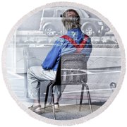 Seated Man Round Beach Towel