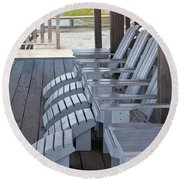 Round Beach Towel featuring the photograph Seating By The Sea - Montauk by Art Block Collections