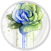 Seattle 12th Man Seahawks Watercolor Rose Round Beach Towel