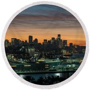 Seattle And Pier 90 Sunrise Round Beach Towel by Mike Reid