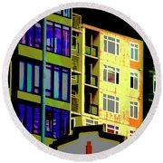 Round Beach Towel featuring the photograph Seattle Architecture by Yulia Kazansky