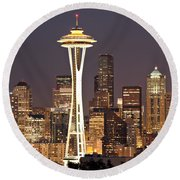 Seattle Full Moon Round Beach Towel by Paul Fell