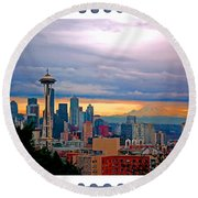 Seattle At Sunset Round Beach Towel