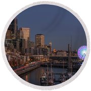 Seattle Autumn Nights Round Beach Towel