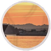 Seattle - Bremerton Ferry Round Beach Towel