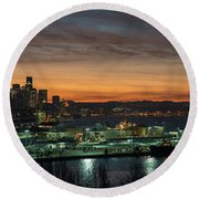 Seattle Early Morning Sunrise Panorama Round Beach Towel by Mike Reid