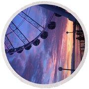 Seattle Ferris Wheel Round Beach Towel
