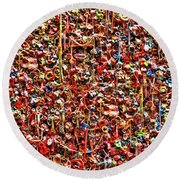 Seattle Gum Wall 2 Round Beach Towel by Allen Beatty