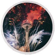 Seattle Round Beach Towel by Happy Home Artistry
