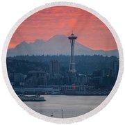 Seattle Icons Sunrise Round Beach Towel