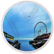 Seattle Pier 57 Round Beach Towel