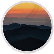 Seattle Puget Sound And The Olympics Sunset Layers Landscape Round Beach Towel by Mike Reid