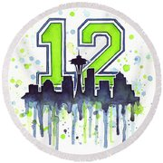 Seattle Seahawks 12th Man Art Round Beach Towel