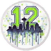 Seattle Seahawks 12th Man Art Round Beach Towel by Olga Shvartsur