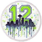 Seattle Seahawks 12th Man Art Round Beach Towel