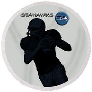 Seattle Seahawks Football Round Beach Towel by David Dehner