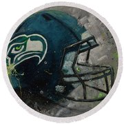 Seattle Seahawks Football Helmet Wall Art Round Beach Towel
