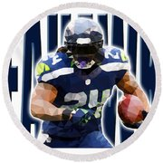 Seattle Seahawks Round Beach Towel by Stephen Younts