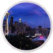 Seattle Skyline 5 Round Beach Towel