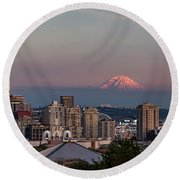 Round Beach Towel featuring the photograph Seattle Skyline And Mt. Rainier Panoramic Hd by Adam Romanowicz