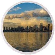 Seattle Skyline Dusk Dramatic Clouds Reflection Round Beach Towel