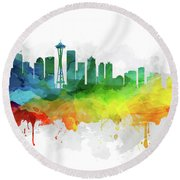 Seattle Skyline Mmr-uswase05 Round Beach Towel by Aged Pixel